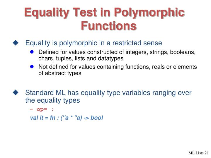 Equality Test in Polymorphic Functions