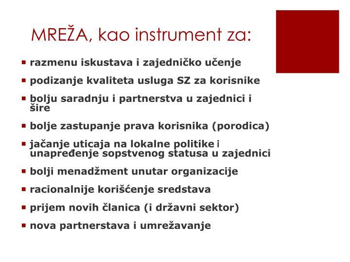 MREŽA, kao instrument za: