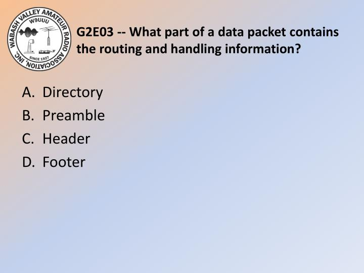 G2E03 -- What part of a data packet contains the routing and handling information?