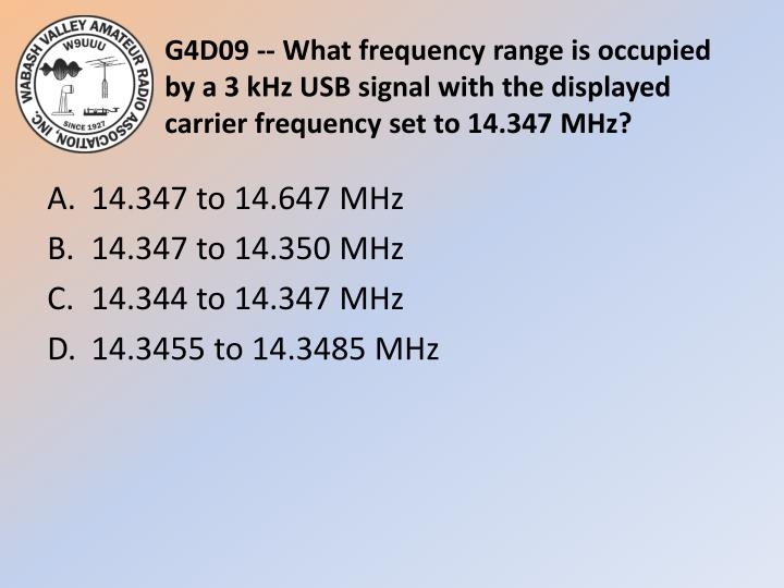 G4D09 -- What frequency range is occupied by a 3 kHz USB signal with the displayed carrier frequency set to 14.347 MHz?