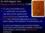 az els magyar vers magyar m ria siralom 1300