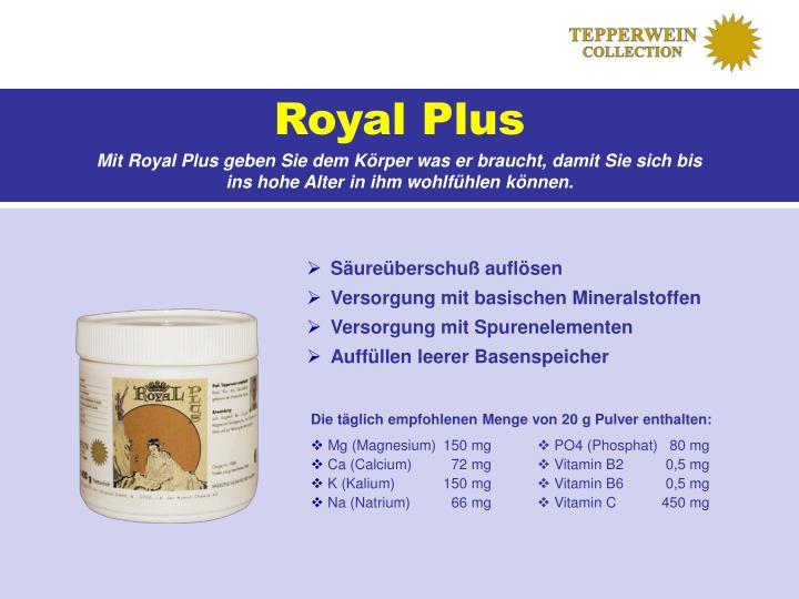 Die täglich empfohlenen Menge von 20 g Pulver enthalten: