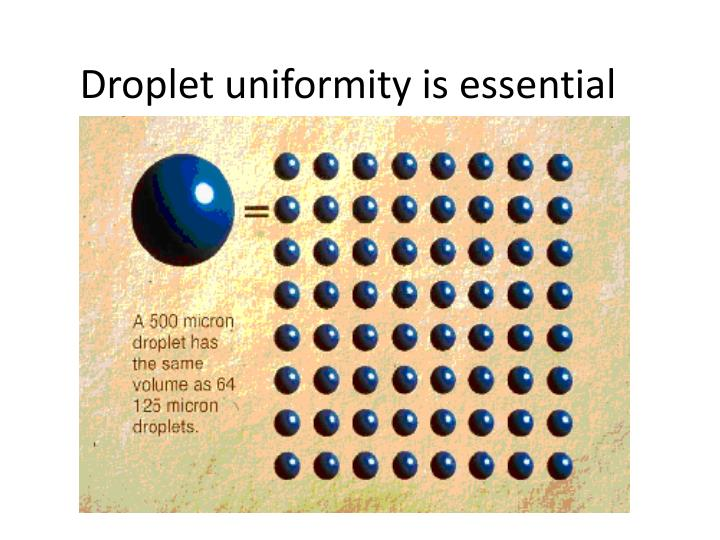 Droplet uniformity is essential