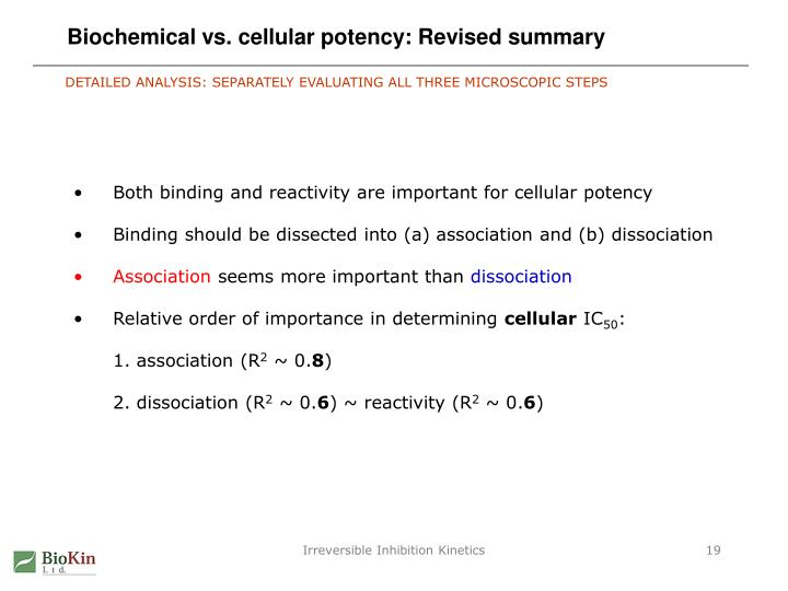 Biochemical vs. cellular potency: Revised summary