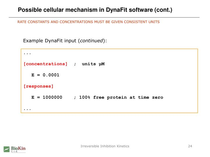 Possible cellular mechanism in DynaFit software (cont.)