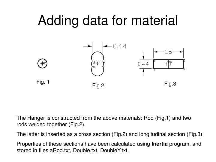 Adding data for material