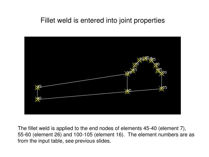 Fillet weld is entered into joint properties