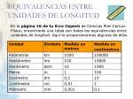 equivalencias entre unidades de longitud