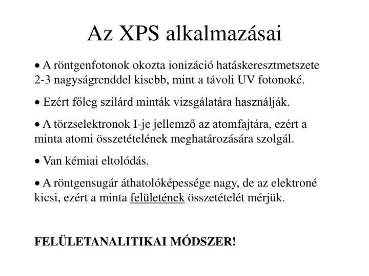 Az XPS alkalmazásai