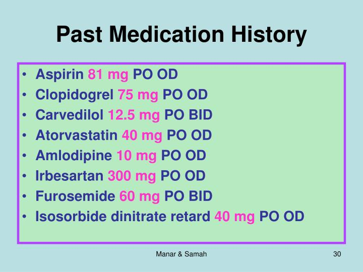 Past Medication History