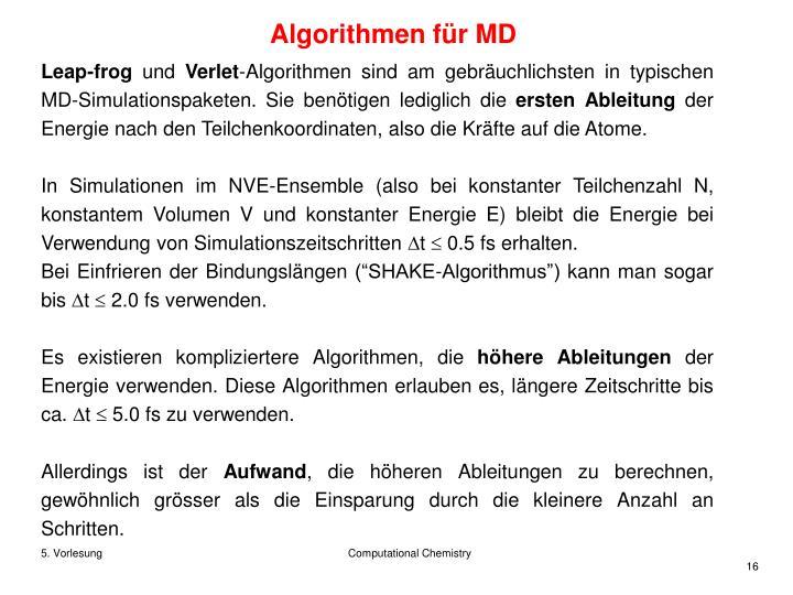 Algorithmen für MD