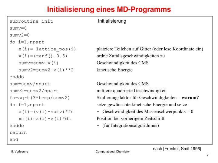 Initialisierung eines MD-Programms