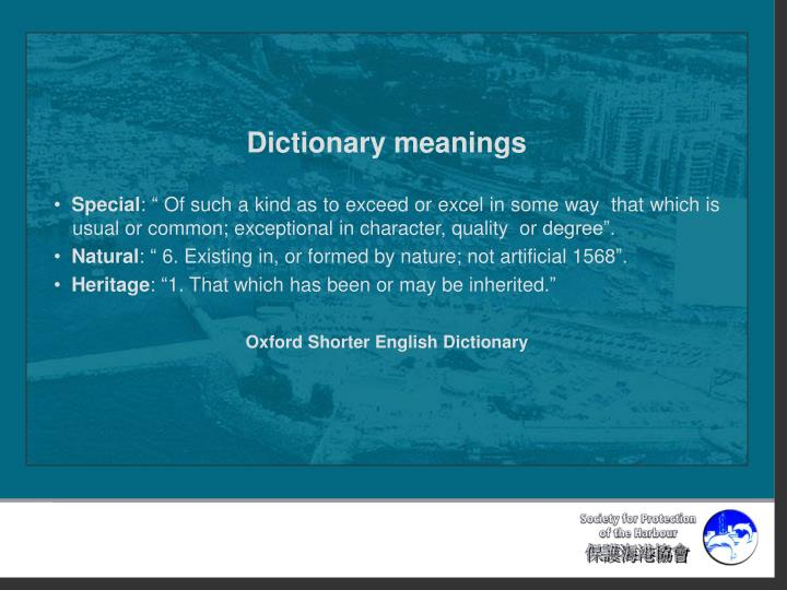 Dictionary meanings