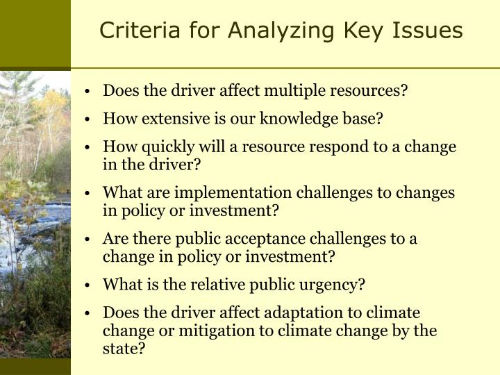 Criteria for Analyzing Key Issues