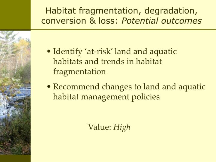 Habitat fragmentation, degradation, conversion & loss: