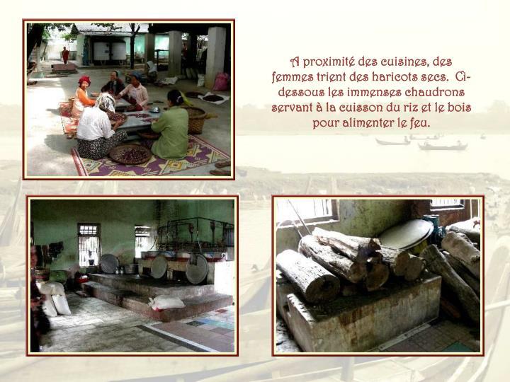 A proximité des cuisines, des femmes trient des haricots secs.  Ci-dessous les immenses chaudrons servant à la cuisson du riz et le bois pour alimenter le feu.