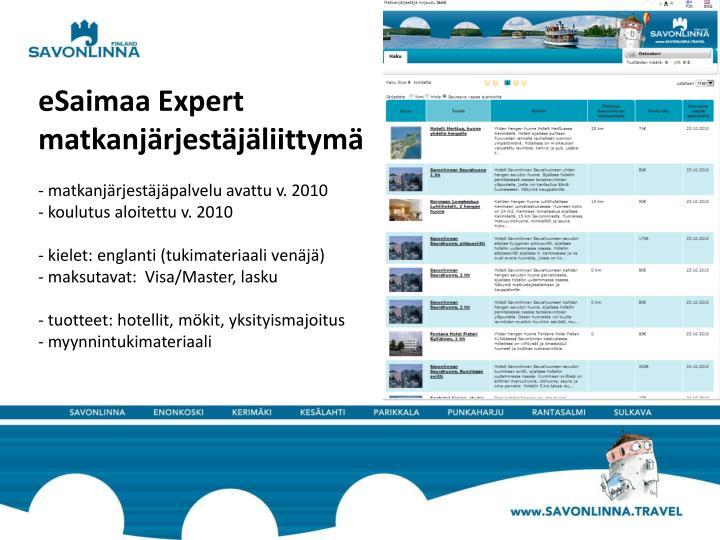 eSaimaa Expert matkanjärjestäjäliittymä