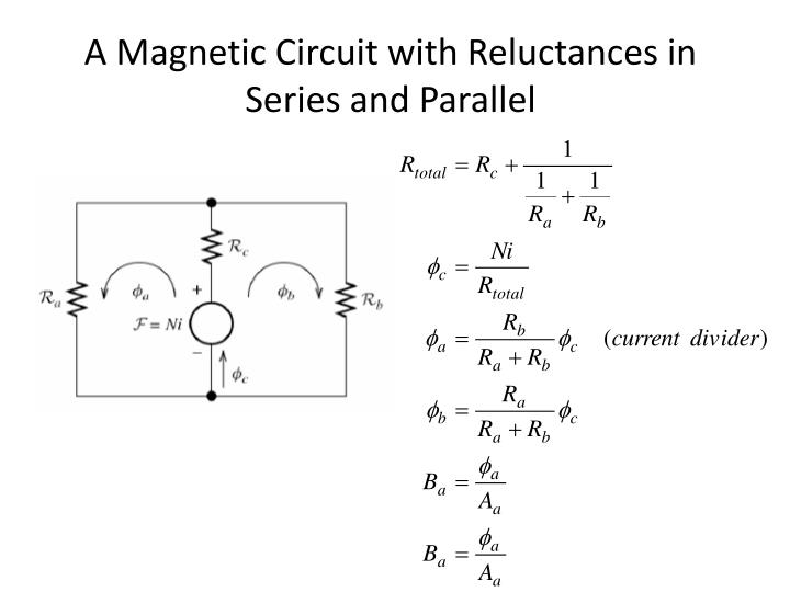 A Magnetic Circuit with Reluctances in Series and Parallel