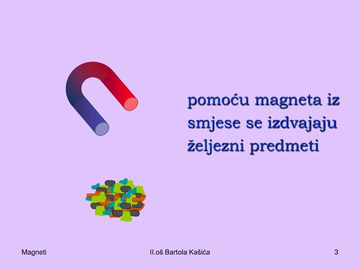 pomoću magneta iz smjese se izdvajaju željezni predmeti