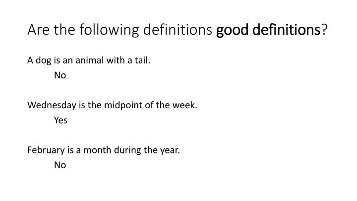 Are the following definitions