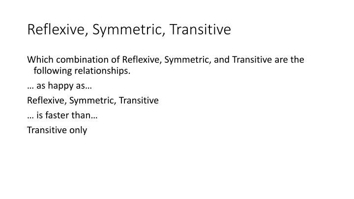 Reflexive, Symmetric, Transitive