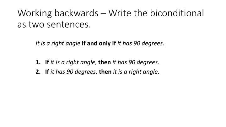 Working backwards – Write the