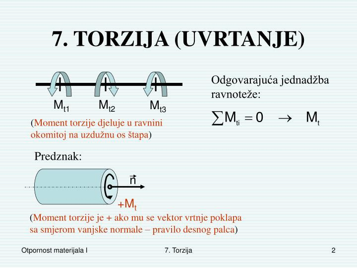7. TORZIJA (UVRTANJE)