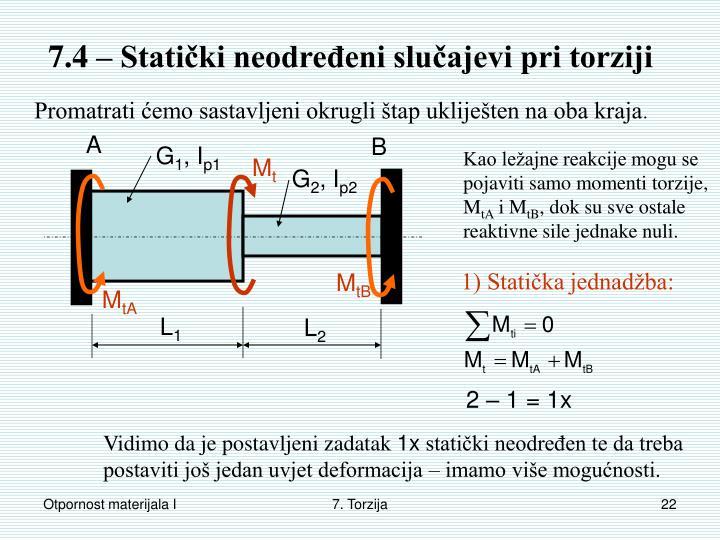 7.4 – Statički neodređeni slučajevi pri torziji