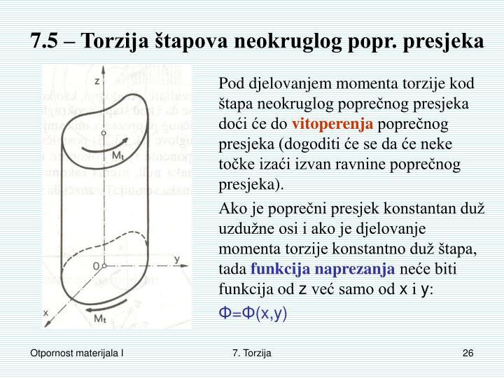 7.5 – Torzija štapova neokruglog popr. presjeka