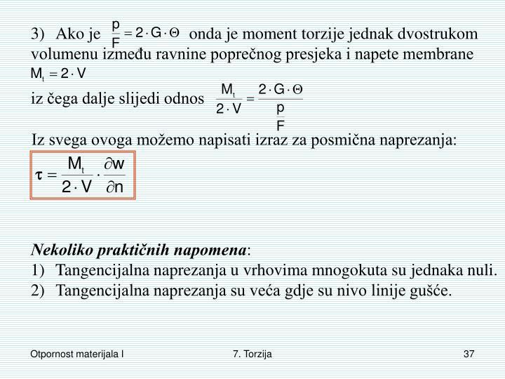 3)Ako je                     onda je moment torzije jednak dvostrukom volumenu između ravnine poprečnog presjeka i napete membrane