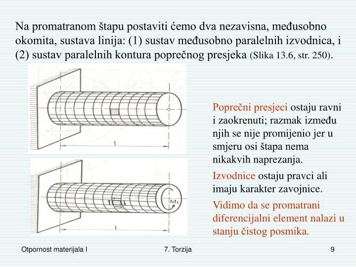 Na promatranom štapu postaviti ćemo dva nezavisna, međusobno okomita, sustava linija: (1) sustav međusobno paralelnih izvodnica, i (2) sustav paralelnih kontura poprečnog presjeka