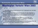masterplan verkehr wien 2003