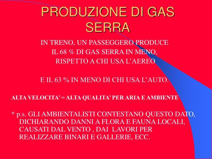PRODUZIONE DI GAS SERRA