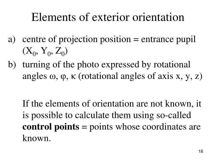 Elements of exterior orientation