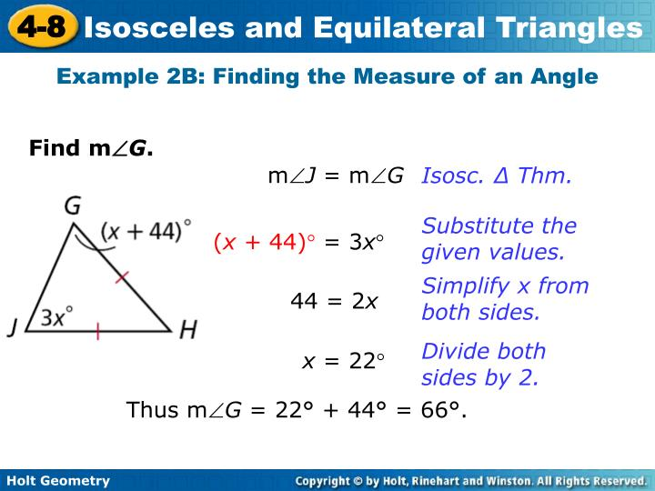Example 2B: Finding the Measure of an Angle
