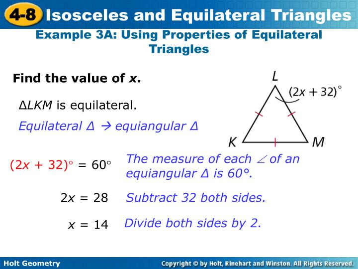 Example 3A: Using Properties of Equilateral Triangles