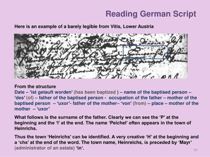 Reading German Script