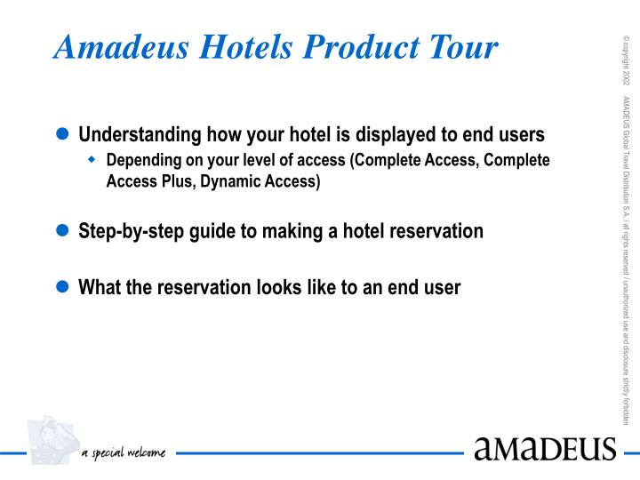 Amadeus hotels product tour