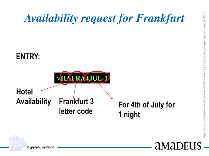 Availability request for Frankfurt