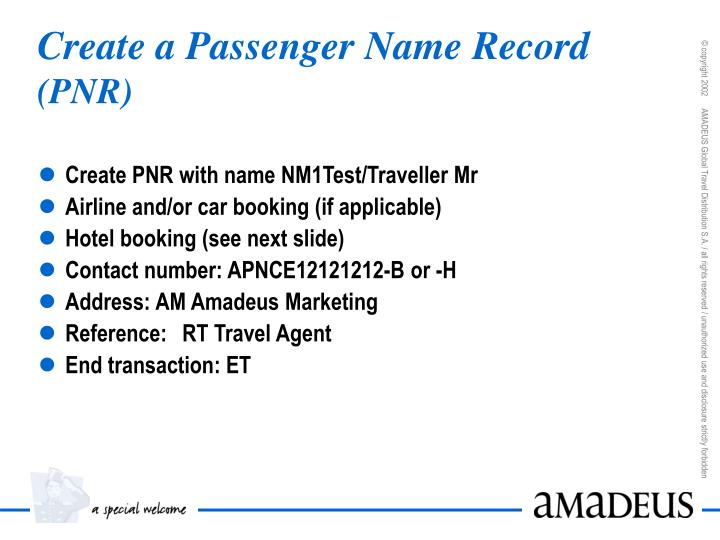 Create a Passenger Name Record