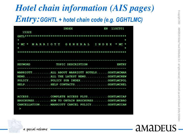 Hotel chain information (AIS pages)