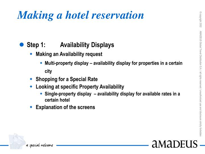 Making a hotel reservation