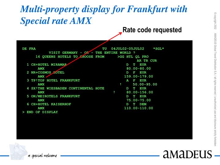 Multi-property display for Frankfurt with Special rate AMX