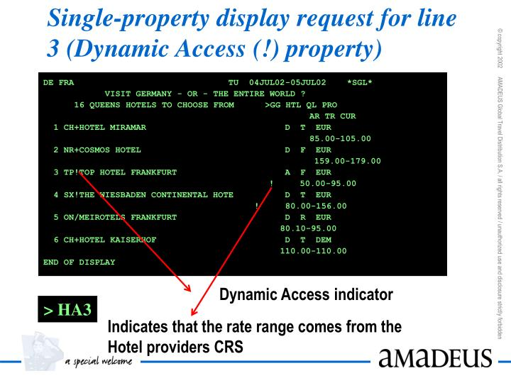 Single-property display request for line 3 (Dynamic Access (!) property)