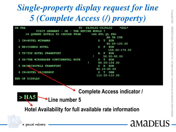 Single-property display request for line 5 (Complete Access (/) property)