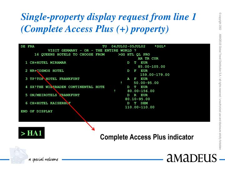 Single-property display request from line 1 (Complete Access Plus (+) property)
