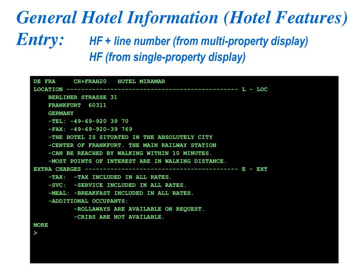 General Hotel Information (Hotel Features)