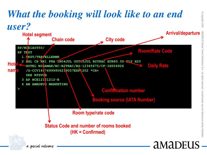 What the booking will look like to an end user?