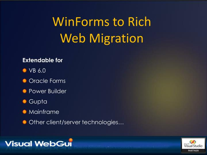 WinForms to Rich Web Migration