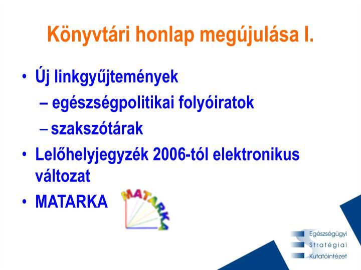 Könyvtári honlap megújulása I.